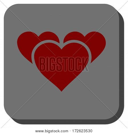 Valentine Hearts interface toolbar icon. Vector pictogram style is a flat symbol centered in a rounded square button dark red and black colors.