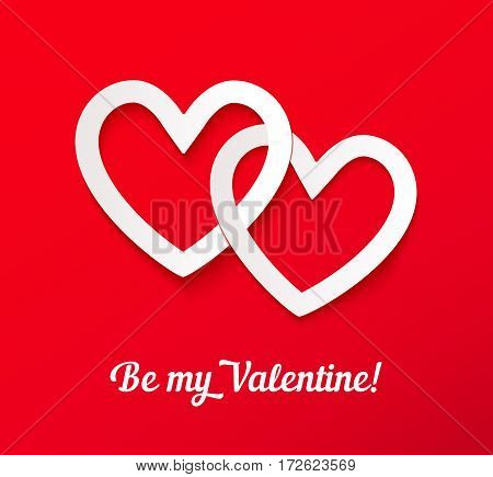 Valentines paper hearts on red background with inscription Be My Valentine