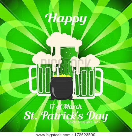 Vector Happy St. Patrick's Day poster on the gradient dark green background with rays leaf of clover silhouette goblets of beer and cauldron with coins.