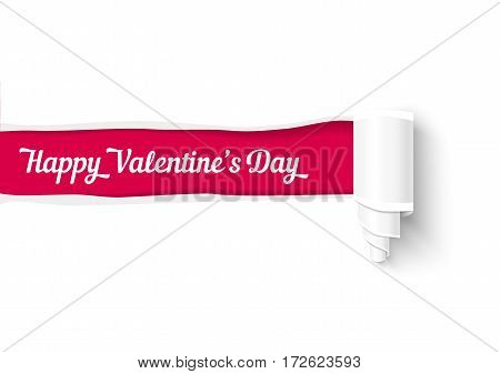 Valentines day background, realistic vector torn paper