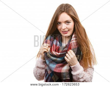 Woman Wearing Scarf Isolated
