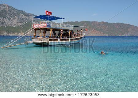 Sulu Ada, Turkey - September 19, 2016: Sulu Ada is an island near Karaoz (and Adrasan) in Antalya, Turkey. Tourists go there with boat trips for swim.