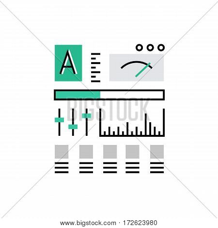 Modern vector icon of dashboard panel control panel with fader knobs and bars. Premium quality vector illustration concept. Flat line icon symbol. Flat design image isolated on white background.