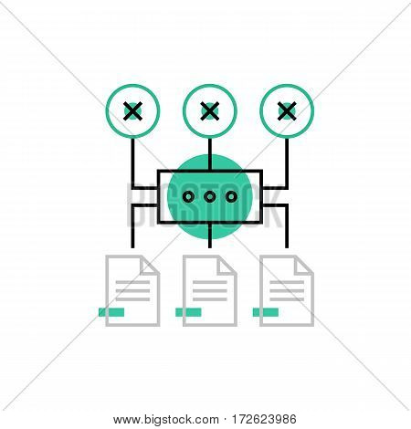 Modern vector icon of algorithm process network structure and connection scheme. Premium quality vector illustration concept. Flat line icon symbol. Flat design image isolated on white background.