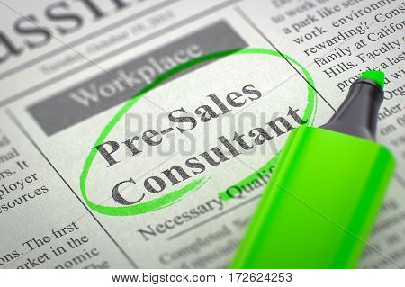 Newspaper with Vacancy Pre-Sales Consultant. Blurred Image with Selective focus. Job Seeking Concept. 3D Illustration.