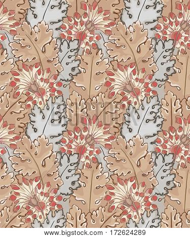 Modern fabric design pattern. Floral pattern for your design. Illustration. Modern seamless pattern for interior decoration, wrapping paper and graphic design.  Modern seamless pattern for clothes and textile. Vector. Background.