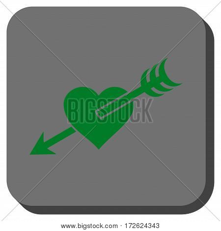 Arrow Heart toolbar icon. Vector pictogram style is a flat symbol on a rounded square button green and gray colors.