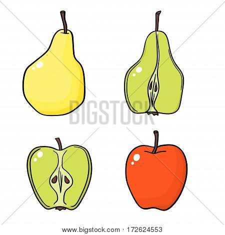 Apples and pears on white background isolated on white