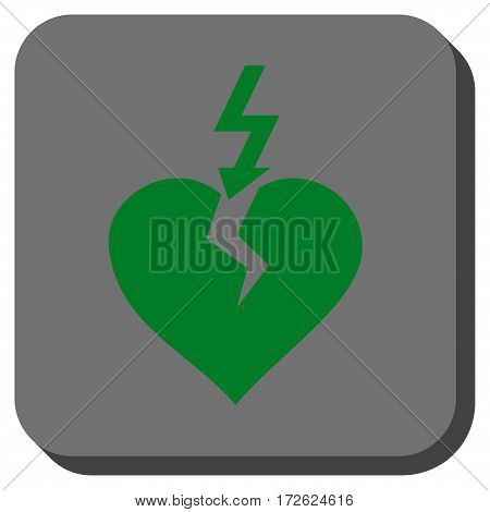 Break Heart interface button. Vector pictograph style is a flat symbol inside a rounded square button green and gray colors.
