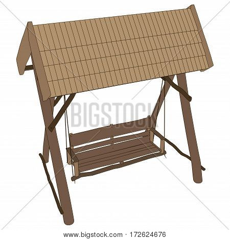 Vector wooden bench swing with a canopy isolated white background.