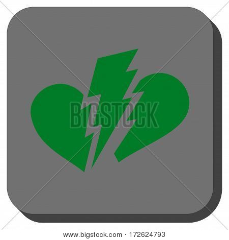 Broken Heart interface icon. Vector pictograph style is a flat symbol in a rounded square button green and gray colors.