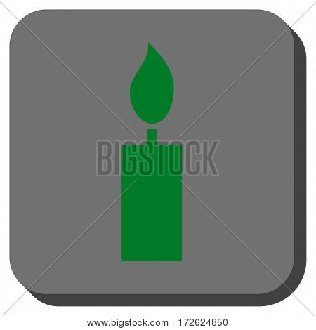 Candle interface button. Vector pictogram style is a flat symbol in a rounded square button green and gray colors.