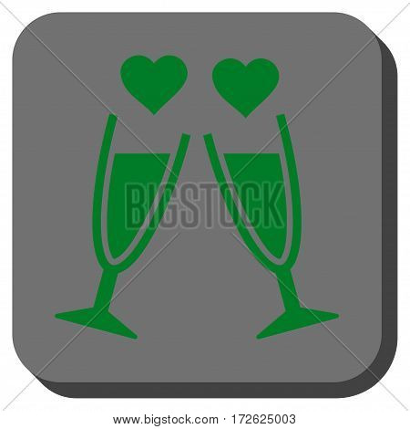 Clink Glasses interface button. Vector pictograph style is a flat symbol in a rounded square button green and gray colors.