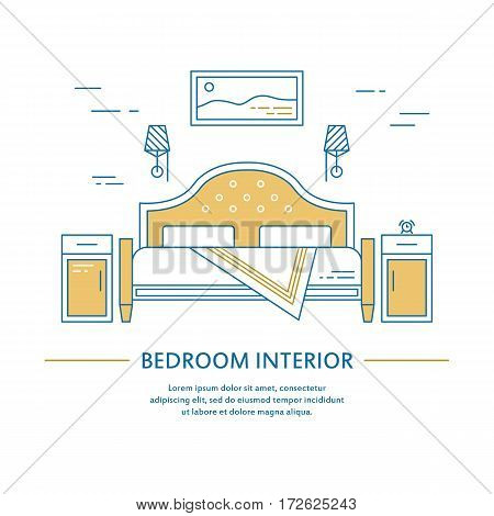 Vector bedroom interior design bedroom brochure cover in line style. Flyer home decoration. Business presentation minimalistic background. Magazine catalog geometric house elements. Poster or booklet
