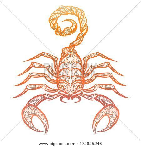 Colorful ornate scorpion isolated on white background. Vector decorative zodiac sign scorpio