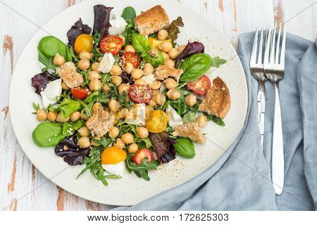 Healthy Salad With Chickpeas Like Caprese