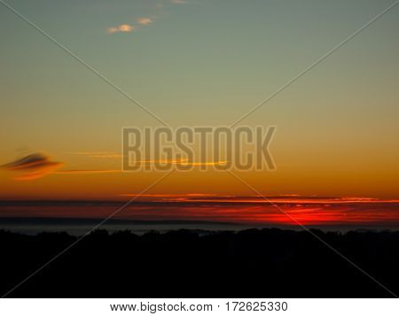 Sunset Landscape. Horizon At Sunset. Red Black Paint.