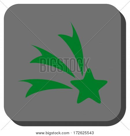 Falling Star toolbar button. Vector pictogram style is a flat symbol on a rounded square button green and gray colors.