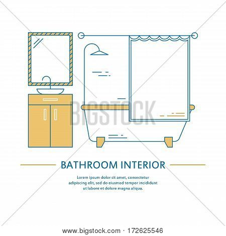 Vector bathroom interior design brochure cover in line style. Flyer home decoration. Business presentation minimalistic background. Magazine catalog geometric house elements. Poster or booklet
