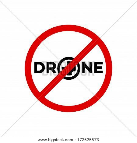 Prohibition sign drone fly with red circles isolated on white background. Ban drone. Vector Illustration