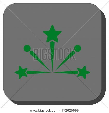 Fireworks Bang toolbar icon. Vector pictograph style is a flat symbol inside a rounded square button green and gray colors.