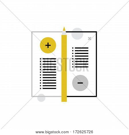 Modern vector icon of noticed pros and cons survey list positive negative options. Premium quality vector illustration concept. Flat line icon symbol. Flat design image isolated on white background.