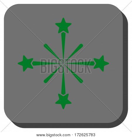 Fireworks rounded icon. Vector pictogram style is a flat symbol in a rounded square button green and gray colors.