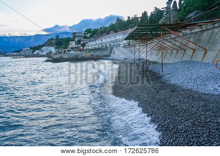 Breakwater at the beach of boarding house