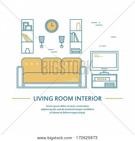 Vector living room interior design brochure cover in line style. Flyer home decoration. Business presentation minimalistic background. Magazine catalog geometric house elements. Poster or booklet