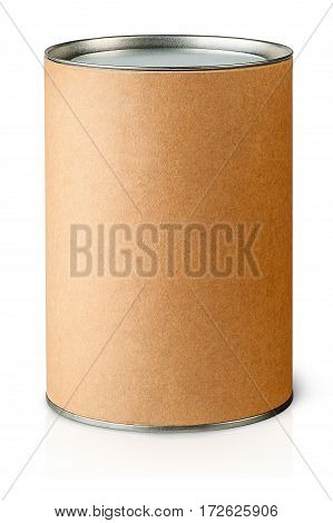 Cardboard tube with metal lids vertically isolated on white background
