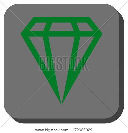 Gem interface toolbar icon. Vector pictograph style is a flat symbol on a rounded square button green and gray colors.