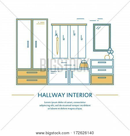 Vector hallway interior design brochure cover in line style. Flyer home decoration. Business presentation minimalistic background. Magazine catalog geometric house elements. Poster or booklet