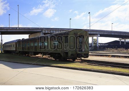 Deteriorated Passenger Train Car at Union Station Meridian Mississippi