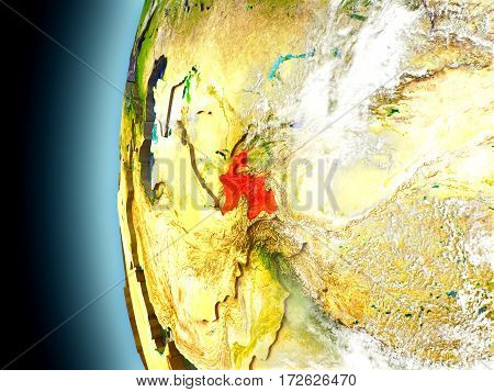 Tajikistan On Planet Earth From Space