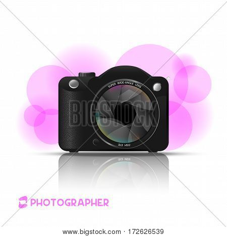 camera image with a wide angle lens on a white background