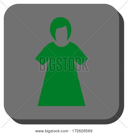 Lady Figure interface button. Vector pictograph style is a flat symbol centered in a rounded square button green and gray colors.