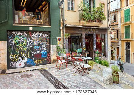 PALMA DE MALLORCA/ SPAIN - JUNE 16. City square in the center of Palma de Majorca on June 16, 2016, Spain.