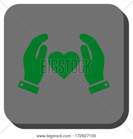 Love Care Hands interface icon. Vector pictograph style is a flat symbol inside a rounded square button green and gray colors.