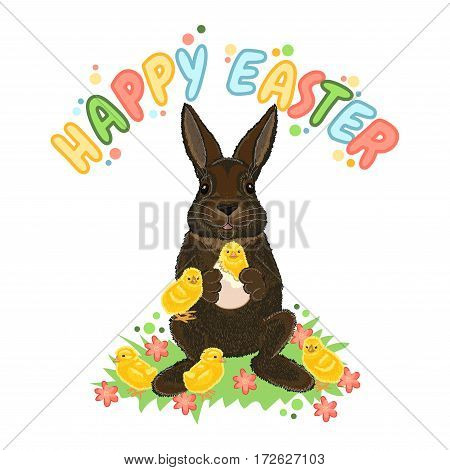 Happy Easter. Cartoon celebrate card with rabbit and chicks on the grass with flowers. Holiday vector illustration.