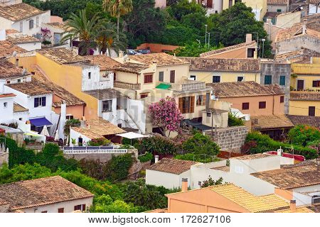 Aerial view of the old municipality of Capdepera as seen from the Castle wall. Island Majorca, Spain.