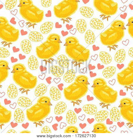 Holiday seamless pattern with lovely chicks, hearts and gold eggs. Happy Easter. Cute background.