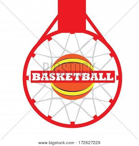 Isolated basketball net with a ball, Vector illustration
