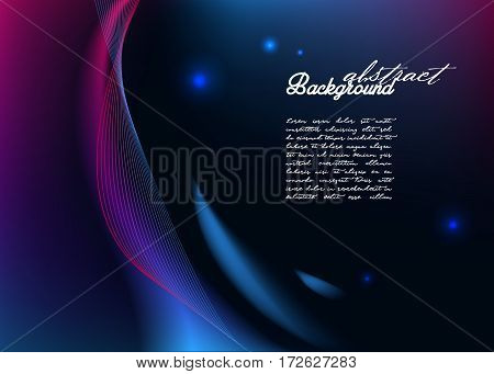 Abstract background with modern glowing lines. Flashed curves.
