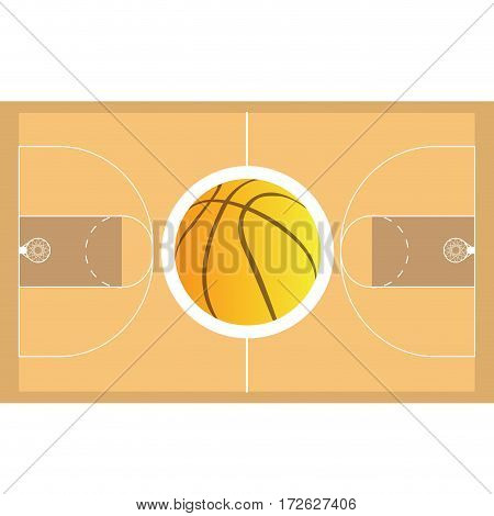 Isolated basketball field on a white background, Vector illustration