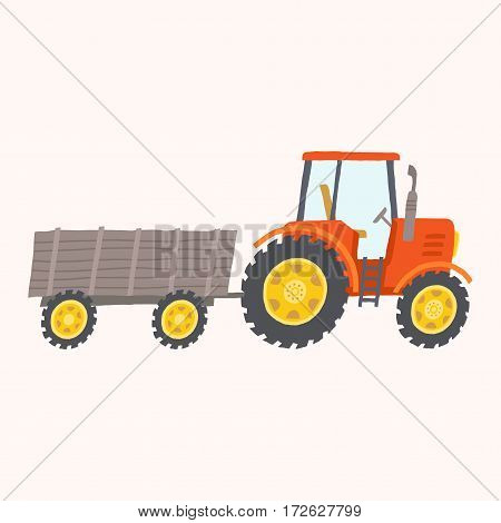 Red tractor with trailer. Toy tractor. Cartoon farm tractor. Vector hand drawn eps 10 illustration isolated on white background.