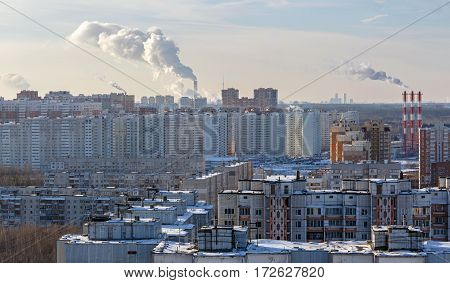 Aerial view of the modern and old residential districts in city of Balashikha. Moscow region, Russia