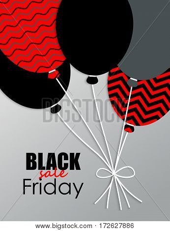 Black Friday. Poster Sale with balloons on gray background. Vector illustration.