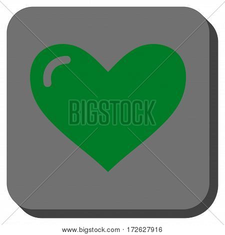 Love Heart interface toolbar icon. Vector pictograph style is a flat symbol inside a rounded square button green and gray colors.