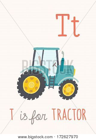 Cartoon blue tractor. ABC Kids Wall Art. Alphabet Card. Nursery alphabet poster wall art. Playroom decor. T is for Tractor. Vector clipart eps 10 hand drawn illustration isolated on white background.
