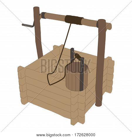 Vector village wooden well isolated on white background.
